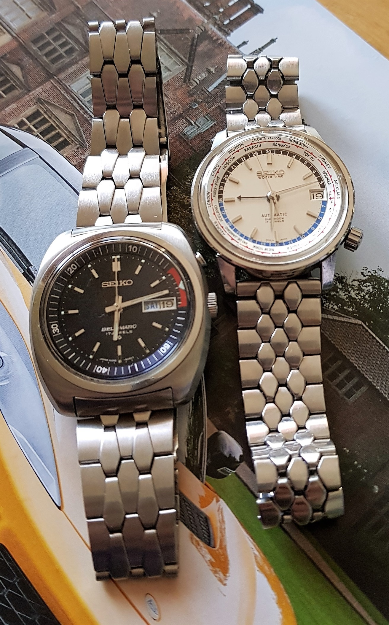 Seiko Diamond back and coffin link bracelets fitted to 6217-7000 World Time and 4006-6031 Bell Matic